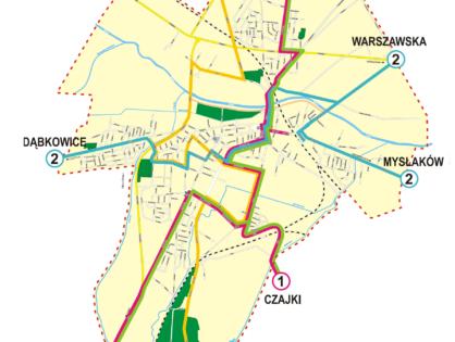 Schemat kursowania linii i strefy biletowe