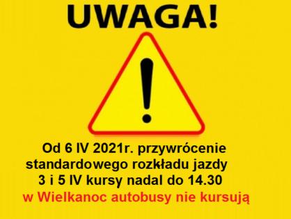 Rozkład jazdy od 6 IV 2021