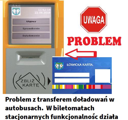 Problem z fizycznym transferem doładowań internetowych na kartę ŁKM w autobusach