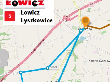 Wydłużenie kursu linii 5 na odcinku Łyszkowice - Kalenice